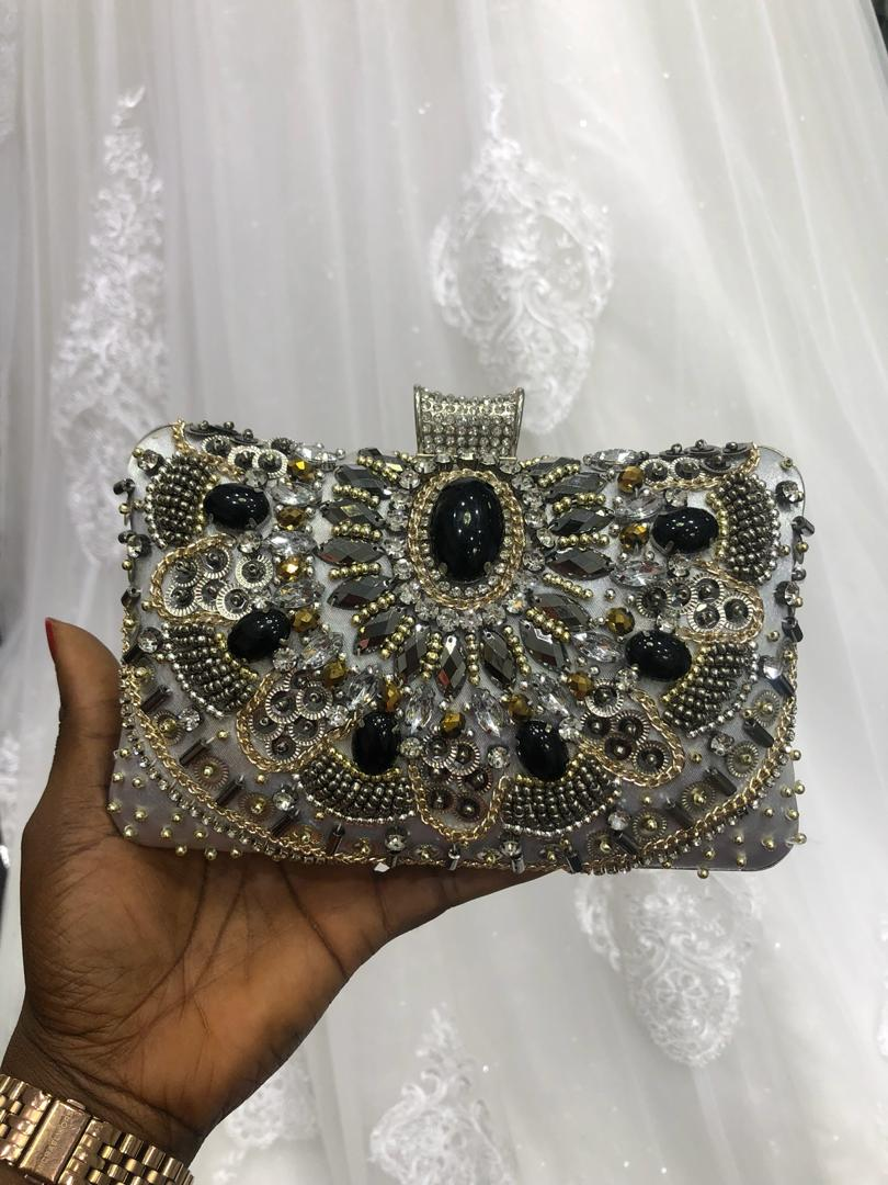 Silver Purse Embellished with Black & Gold Gems