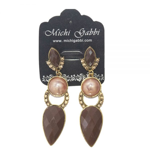 Gold & Brown Fashion Earrings