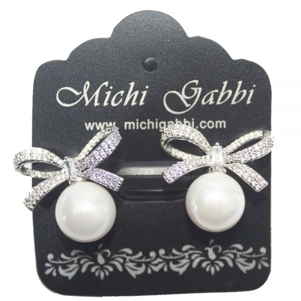 Cubic Zirconia Bow with Pearl Drop