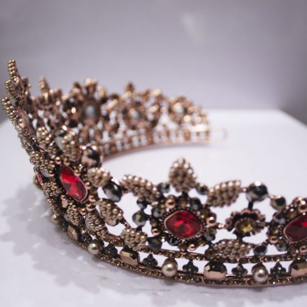 Bronze Tiara with Red Crystals